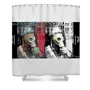Overprinted Gas Mask Shower Curtain