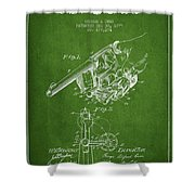 Owen Revolver Patent Drawing From 1899- Green Shower Curtain