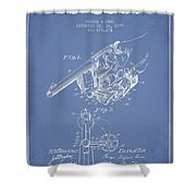 Owen Revolver Patent Drawing From 1899- Light Blue Shower Curtain
