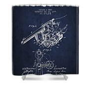 Owen Revolver Patent Drawing From 1899- Navy Blue Shower Curtain