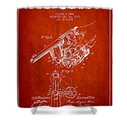 Owen Revolver Patent Drawing From 1899- Red Shower Curtain