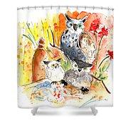 Owl Family In Velez Rubio Shower Curtain