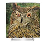 Owl With Orange Eyes Shower Curtain