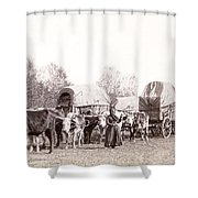 Ox-driven Wagon Freight Train C. 1887 Shower Curtain by Daniel Hagerman