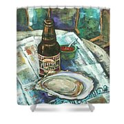 Oyster And Amber Shower Curtain by Dianne Parks