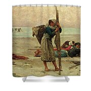 Oyster Catching Shower Curtain