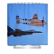 P-38 And Jet Shower Curtain