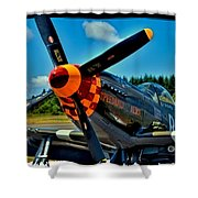 P-51 Mustang Shower Curtain by David Patterson