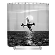 P51d Sunset Black And White Shower Curtain