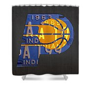 Pacers Basketball Team Logo Vintage Recycled Indiana License Plate Art Shower Curtain