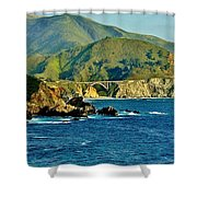 Pacific Coast Panorama Shower Curtain by Benjamin Yeager