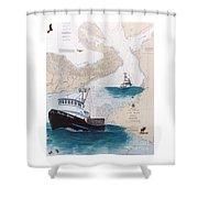Pacific Dream Crab Fishing Boat Nautical Chart Art Shower Curtain