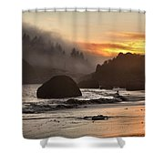 Pacific Fog And Fire Shower Curtain by Adam Jewell