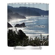 Pacific Mist Shower Curtain by Karen Wiles
