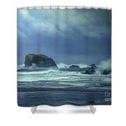 Pacific Storm Bandon Beach Oregon Shower Curtain