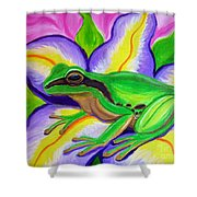 Pacific Tree Frog And Flower Shower Curtain