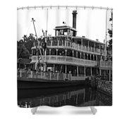 Paddle Boat Black And White Walt Disney World Shower Curtain