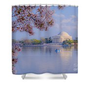 Paddling Past The Blossoms On The Basin Shower Curtain