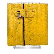 Padlock On An Old Yellow Door Shower Curtain