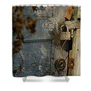 padlocked old wood door abandoned Streetman Texas Shower Curtain