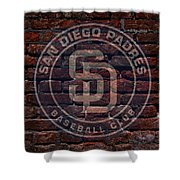 Padres Baseball Graffiti On Brick  Shower Curtain by Movie Poster Prints