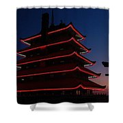 Pagoda At Sunset Shower Curtain
