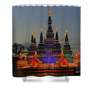 Pagoda Lantern Made With Porcelain Dinnerware At Sunset Shower Curtain