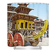 Pagoda-style Carriage In Bhaktapur Durbar Square In Bhaktapur-nepal Shower Curtain