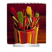 Paint Can And Paint Brushes Still Life Shower Curtain