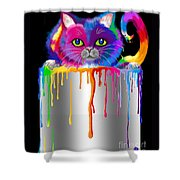 Paint Can Cat Shower Curtain