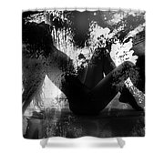 Paint Over Nude Silhouette Shower Curtain