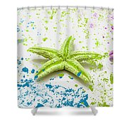 Paint Spattered Star Fish Shower Curtain