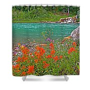 Paintbrush By Bow River In Banff Np-ab Shower Curtain