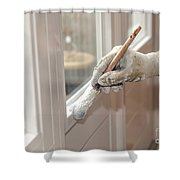 Paintbrush With White Paint In Hand Shower Curtain