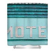 Painted Blue-green Historic Motel Facade Siding Shower Curtain