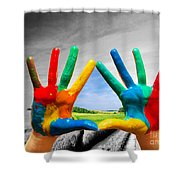 Painted Colorful Hands Showing Way To Colorful Happy Life Shower Curtain