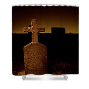 Painted Cross In Graveyard Shower Curtain