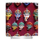Painted Elephant Souvenirs In Kathmandu Shower Curtain