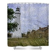 Painted Fort Gratiot Light House Shower Curtain