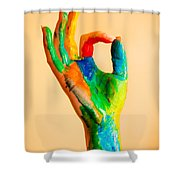 Painted Hand With Ok Sign Shower Curtain
