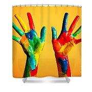 Painted Hands Shower Curtain