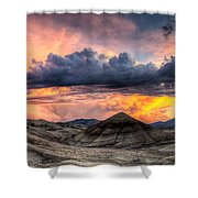 Painted Hills In Oregon Panorama At Sunset Shower Curtain