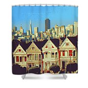 Alamo Square San Francisco - Digital Art Shower Curtain