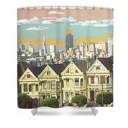 San Francisco Alamo Square - Watercolor Illustration Shower Curtain