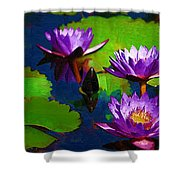 Painted Purple Water Lilies Shower Curtain