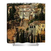 Painted Ronda. Spain Shower Curtain by Jenny Rainbow