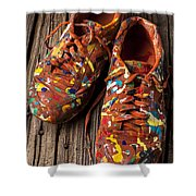 Painted Tennis Shoes Shower Curtain