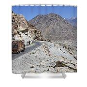 Painted Truck On The Karakorum Highway In Pakistan Shower Curtain by Robert Preston