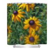 Painterly Flowers Shower Curtain