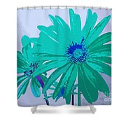 Painterly Flowers In Teal And Blue Pop Art Abstract Shower Curtain